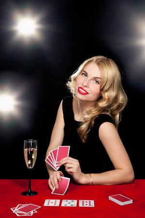 young girl playing in the gambling in casino Stock Photo