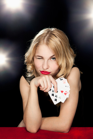 young girl playing in the gambling in casino Stock Photo