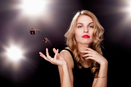 young girl playing in the gambling in casino Standard-Bild