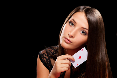 young woman playing in the gambling in casino Stock Photo