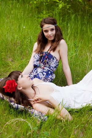 Pretty young girls in the forest photo