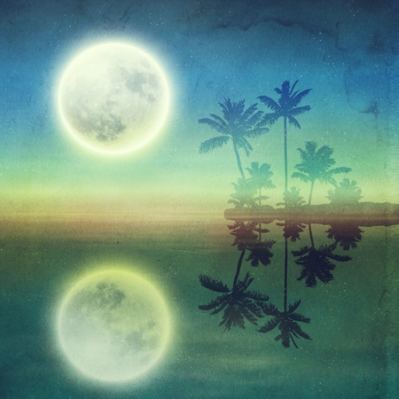 Sea with island with palm trees and full moon at night. Retro style with old textured paper. photo