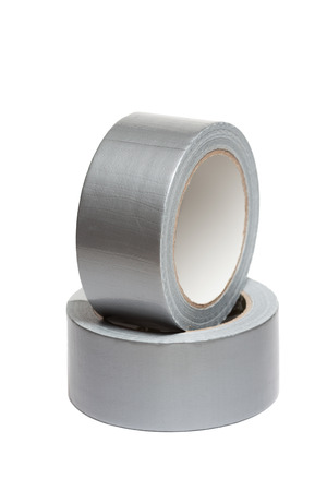 gaffer: Rolls of white adhesive tape, isolated on white background Stock Photo