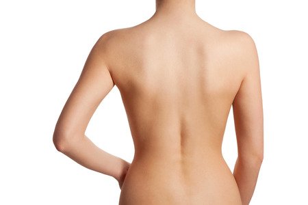 nude back: Beautiful and naked female back view, isolated on white background