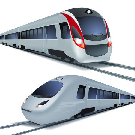 railway track: Moderne hogesnelheidstreinen Stock Illustratie