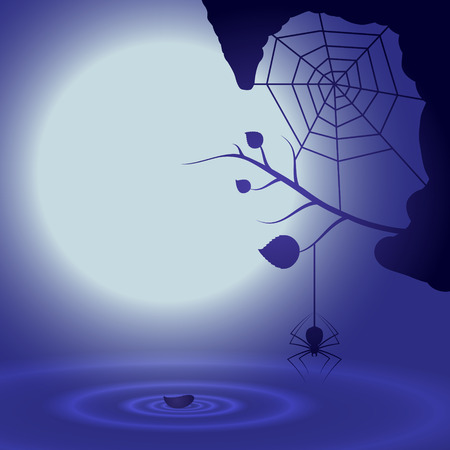 eps10 vector background: Halloween background with full moon and spider. EPS10 vector.