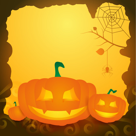 Halloween background with pumpkins.  Vector