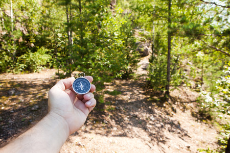 Hand holding the compass. Hike concept. photo