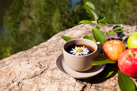 Tea with chamomile and apples on old big stone. With place for text. photo