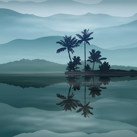 Background with sea and palm trees at night. EPS10 vector. Vector