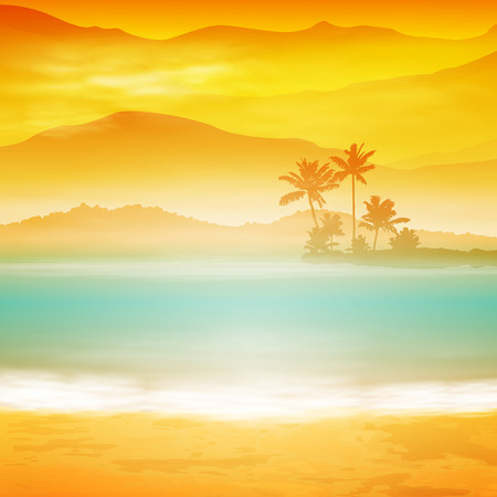 Background with sea and palm trees. Sunset time. Vettoriali