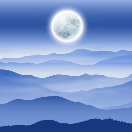 eventide: Background with fullmoon and mountains in the fog. EPS10 vector.