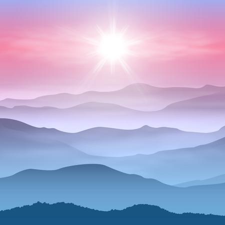 太陽と霧の中で山の背景。  イラスト・ベクター素材