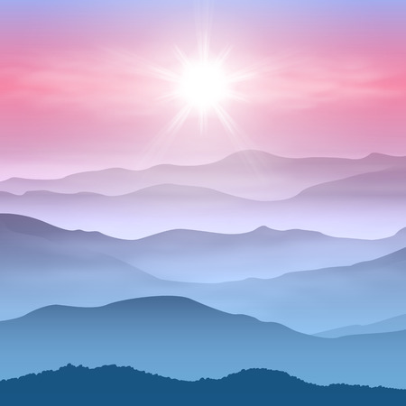 panoramic view: Background with sun and mountains in the fog.