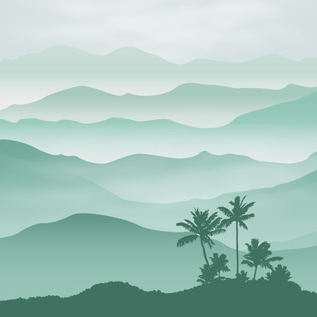 jungle: Mountains with palm tree in the fog.