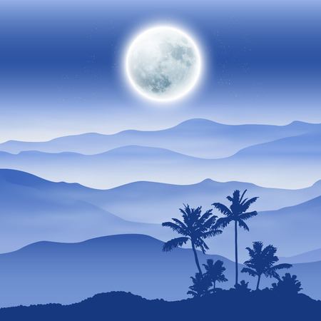 Background with fullmoon, palm tree and mountains in the fog.  Illustration