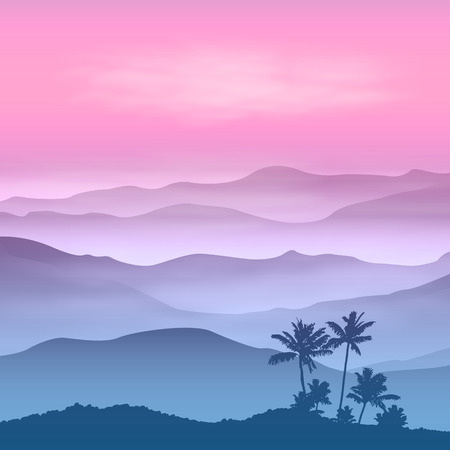 Background with palm tree and mountains in the fog. Sunset time.  Ilustração