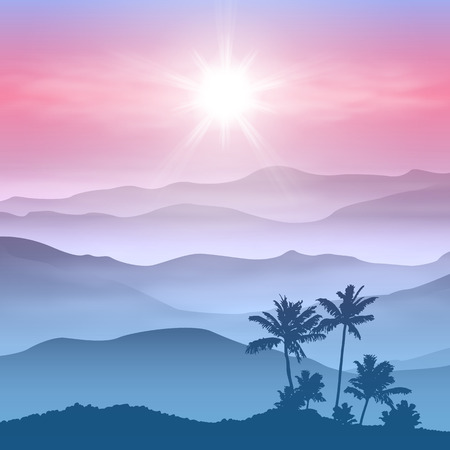 Background with palm tree and mountains in the fog.