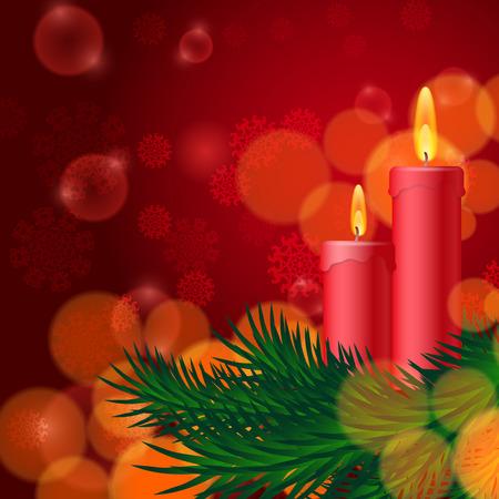 velas de navidad: Fondo de Navidad con velas y abeto. Vectores