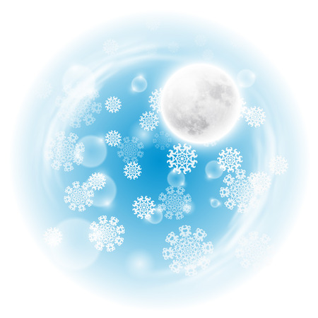 christmas scene: Winter night landscape with fullmoon.
