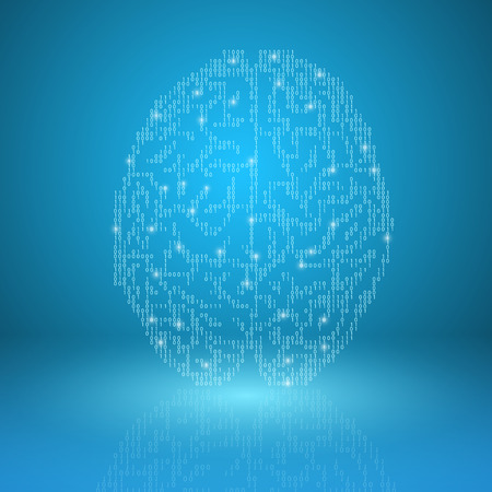digital illustration: Digital brain on blue background. EPS10 vector.