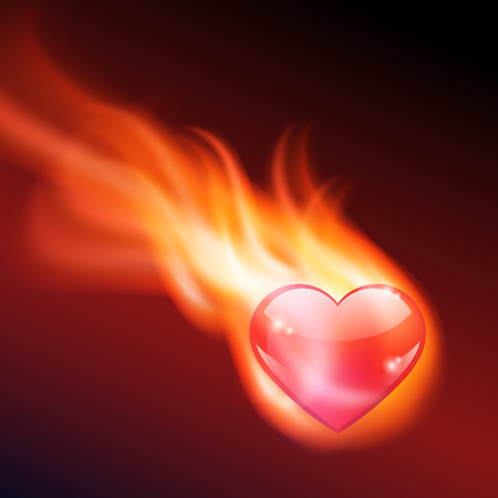 burning heart: Abstract background with burning heart. EPS10 vector.