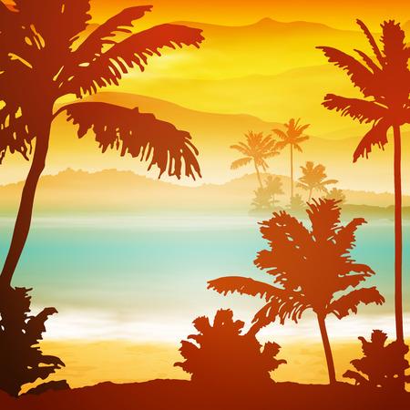 섬과 팜 나무와 바다 일몰. EPS10 벡터.