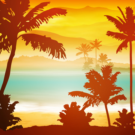 Sea sunset with island and palm trees. EPS10 vector. Vettoriali