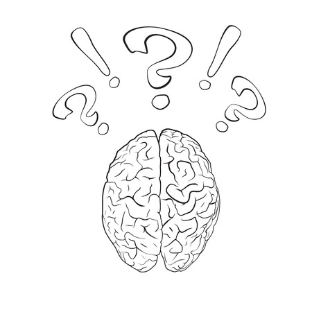 ejaculation: Brain with question mark and exclamation mark. Concept. EPS10 vector.
