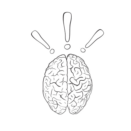 ejaculation: Brain with exclamation mark. Concept. EPS10 vector.
