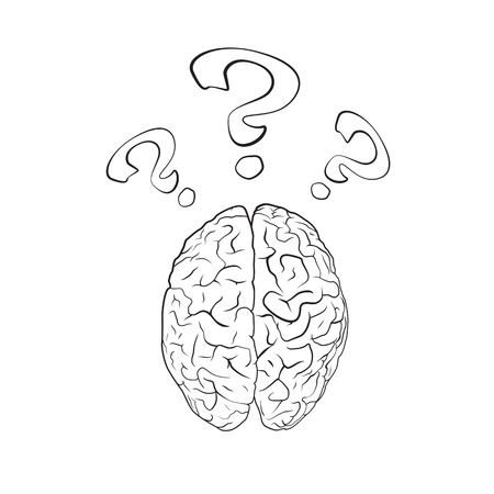 questionmark: Brain with question mark. Concept. EPS10 vector.