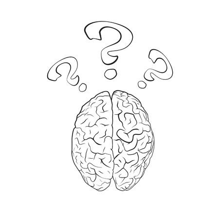 question mark: Gehirn mit Fragezeichen. Konzept. EPS10-Vektor.
