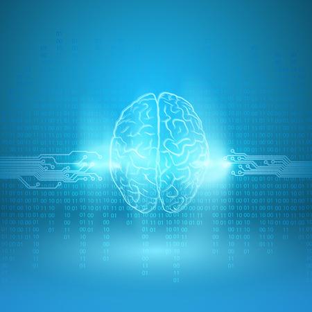nulo: Cerebro digital sobre fondo azul. Vector EPS10.