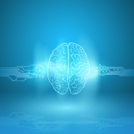 Digital brain on blue background. EPS10 vector. Vector