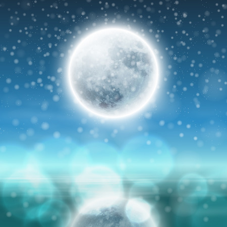 new moon: Winter night landscape with fullmoon. EPS10 vector.