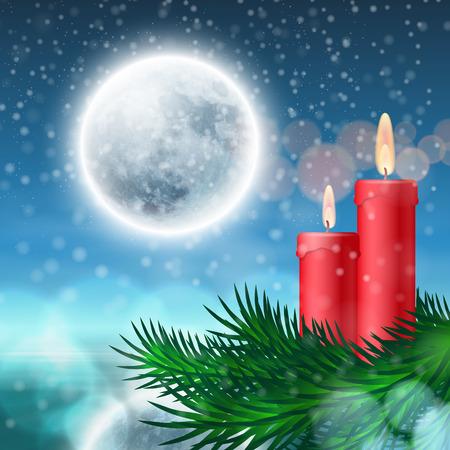 velas de navidad: Fondo de Navidad con velas y abeto. Vector EPS10. Vectores