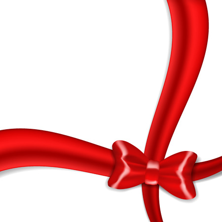 christmas bow: Red ribbon bow isolated on white background. EPS10 vector. Illustration