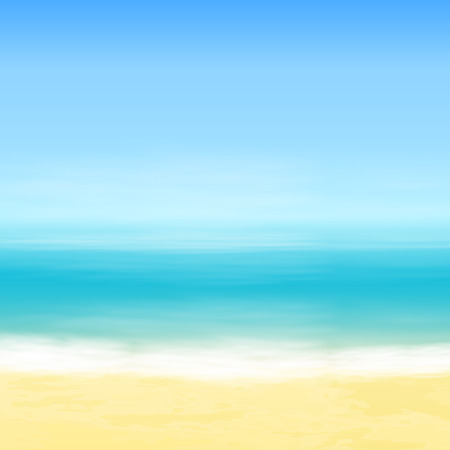 Beach and blue sea. Tropical background.  Illustration