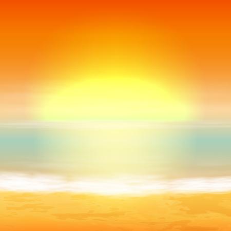 Sea sunset. Tropical background.  Illustration
