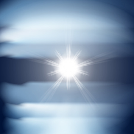 Abstract blue background with sun. Vector