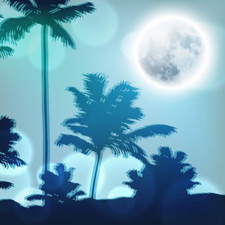 Landscape with palm trees and full moon at night.