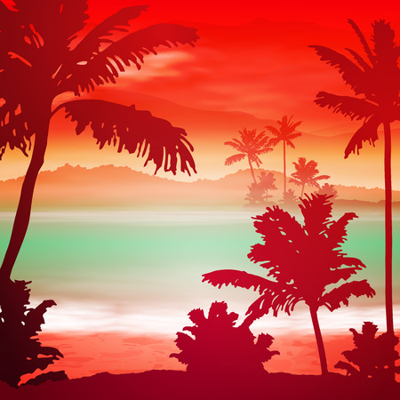 heaven background: Sea sunset with island and palm trees.