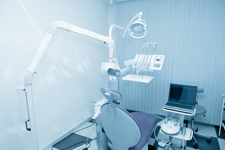 blue tone: Dentist office. Blue tone. Stock Photo