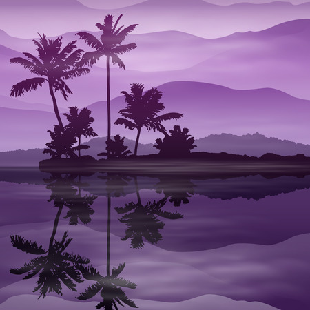 purple: Purple background with sea and palm trees at night.
