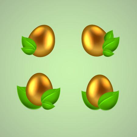 uova d oro: Set di uova d'oro in foglie verdi.