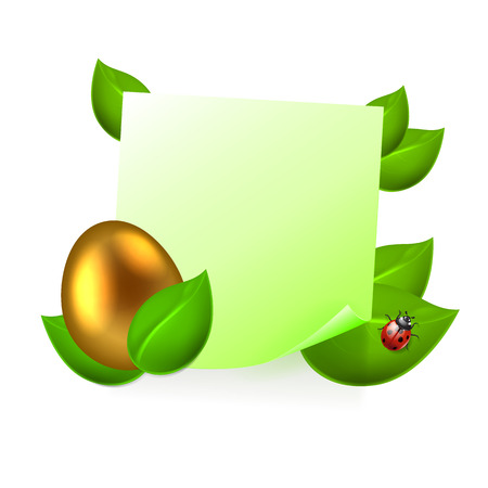Note with golden easter egg in green leaves. EPS10 vector. Vector