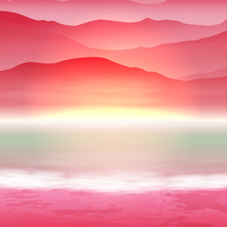 mountain sunset: Background with sea and mountain. Sunset time. EPS10 vector.