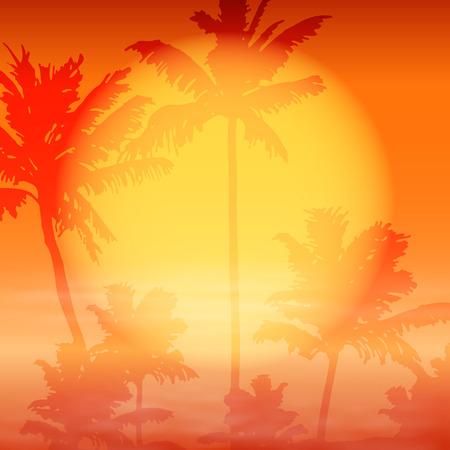 ヤシの木と海の夕日。EPS10 ベクトル。  イラスト・ベクター素材