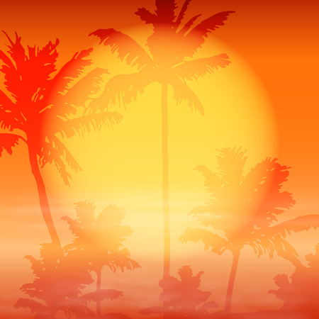 Sea sunset with palm trees. EPS10 vector.