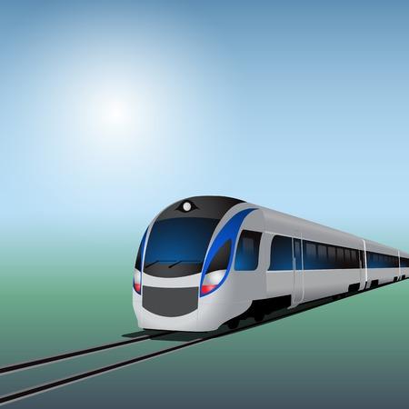 화창한 날에 고속 열차입니다. EPS10 벡터. 일러스트